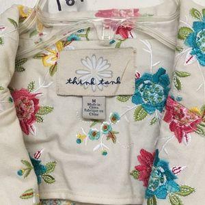 Think Tank Jackets & Coats - Think Tank Denim Jacket Cream colorful flowers